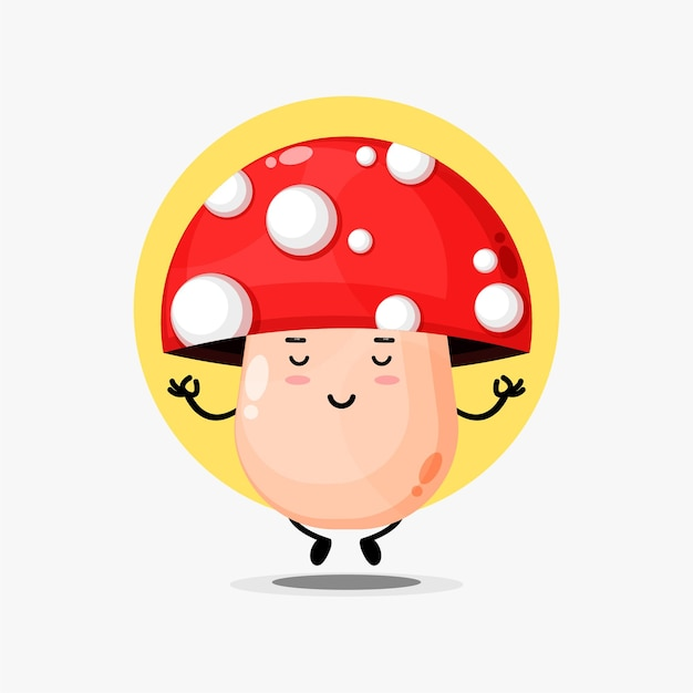 Cute mushroom character meditating in yoga pose