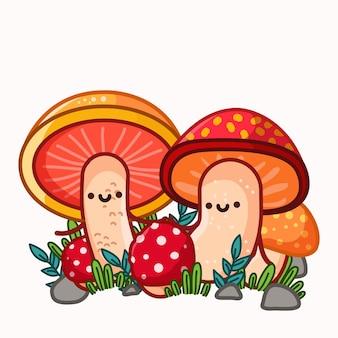 Cute mushroom couple illustration
