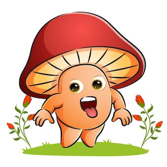 The cute mushroom is giving the silly expression of illustration
