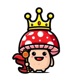 귀여운 버섯은 흰색 절연 왕