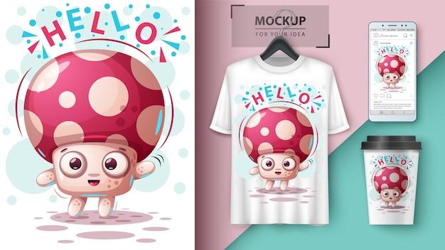 Cute mushroom - mockup fot your idea