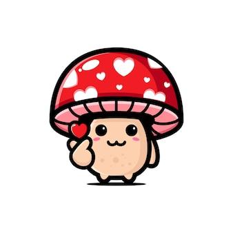 Милый гриб позирует палец любовь