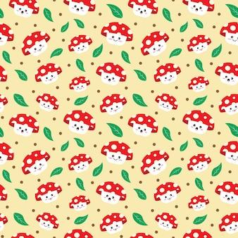Backgroundwrappingtextilesvector 일러스트에 대 한 귀여운 버섯 원활한 패턴 디자인