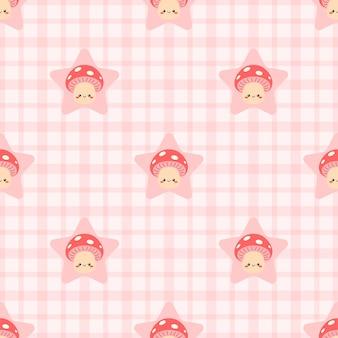 귀여운 버섯 스타 완벽 한 패턴