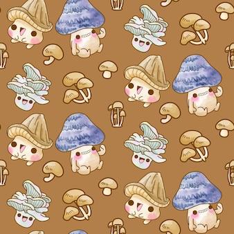 귀여운 버섯 벡터 원활한 패턴, 버섯 수채화