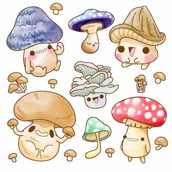 귀여운 버섯 벡터 설정 그림 버섯 수채화