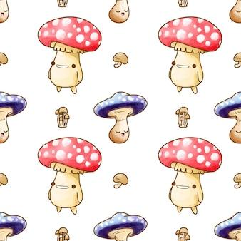 귀여운 버섯 수채화 원활한 패턴 벡터