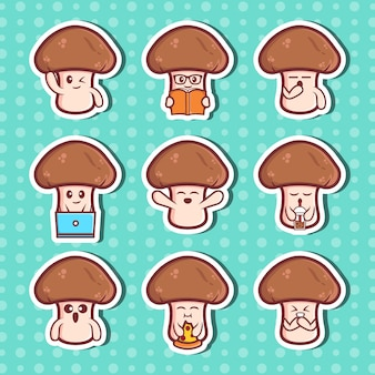 Cute mushrooms character sticker collection set premium vector