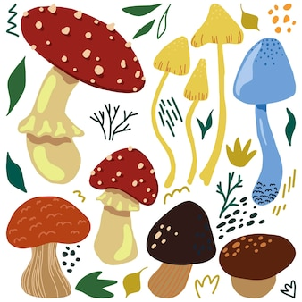 Симпатичные грибы плоской рисованной векторные иллюстрации. красочная коллекция в скандинавском стиле. осенний лесной урожай простые элементы для дизайна.