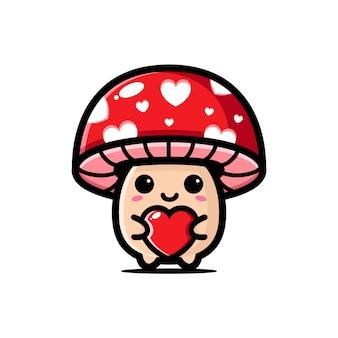 Милые грибы, обнимающие сердце любви, изолированные на белом