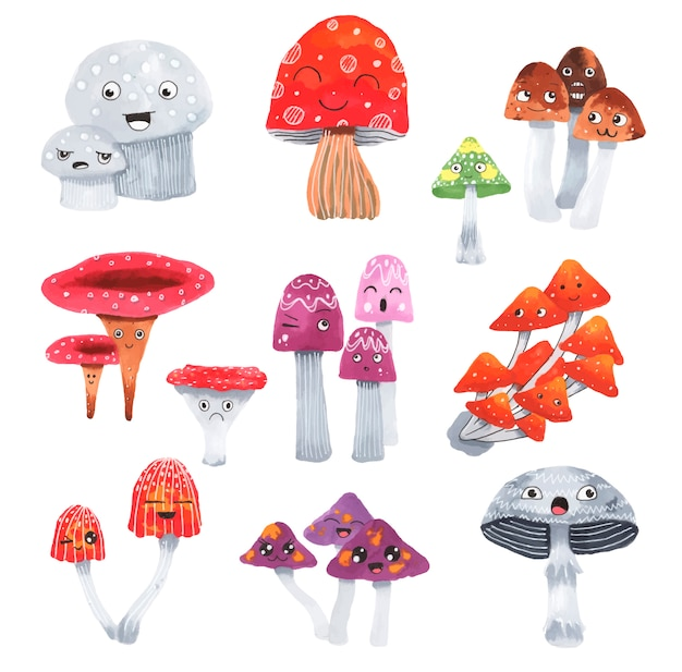 Cute mushrooms set