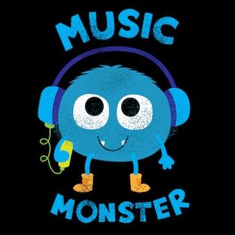 Cute music monster for t shirt