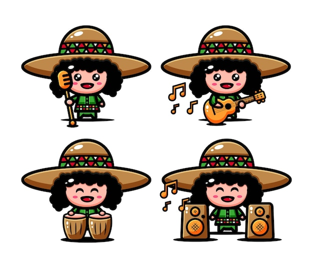 Cute musician afro characters set