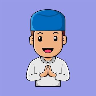 Мультфильм милый мусульманский мальчик