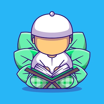 Cute muslim boy reading the quran cartoon illustration
