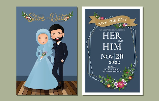 Cute muslim bride and groom.wedding invitations card.