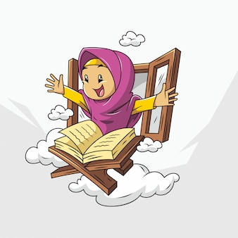 Cute muslim cartoon with hijab and quran