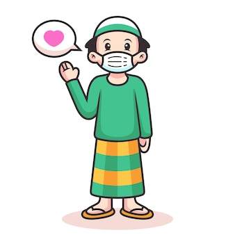 Cute muslim cartoon with love sign. icon illustration. person icon concept isolated
