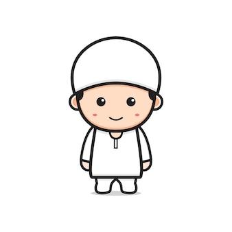 Симпатичный мусульманский персонаж мультфильма значок иллюстрации. дизайн изолированные плоский мультяшном стиле