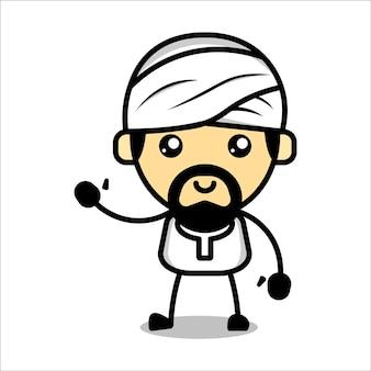 Cute muslim character premium vector