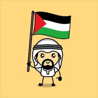 Cute muslim character with palestinian flag premium vector