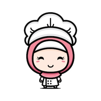 Cute muslim chef character design