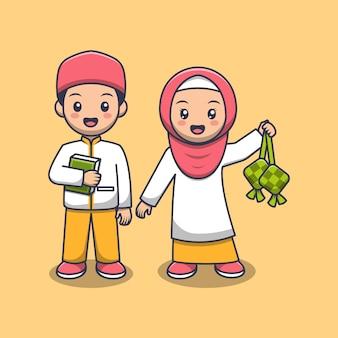Cute muslim couple holding quran and ketupat