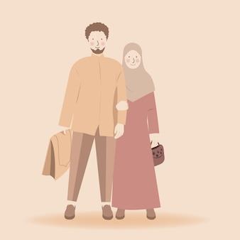 かわいいイスラム教徒のカップルが一緒に祈りに行く準備ができて祈りマットサジャダーとムケナをもたらす