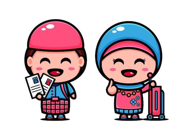 Cute muslim couple time to holidays. islamic cartoon