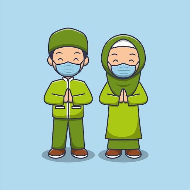 마스크를 쓰고 귀여운 이슬람 커플