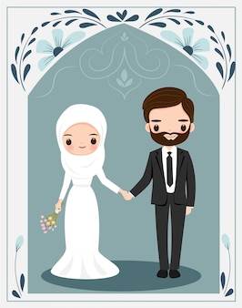 Cute muslim couple with flower frame for wedding invitation card