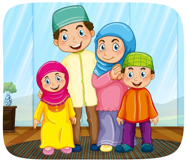 Cute muslim family cartoon character