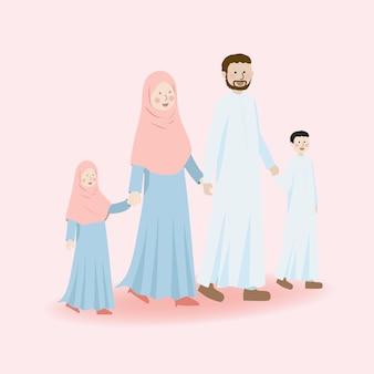 かわいいイスラム教徒の家族の文字父父息子と娘が一緒に手を握って
