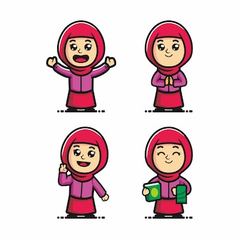 Cute muslim girl cartoon vector