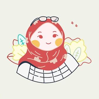 귀여운 이슬람 소녀 캐릭터 디자인