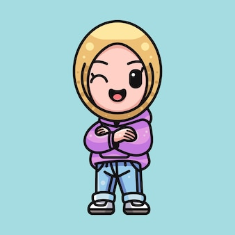 Cute muslim girl for character sticker and illustration