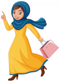 Cute muslim girl character