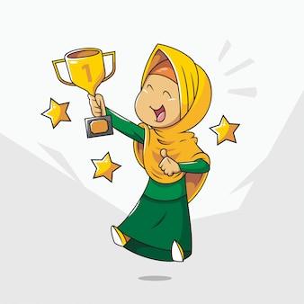 Милая мусульманская девушка держит трофей. мультфильм хиджаб