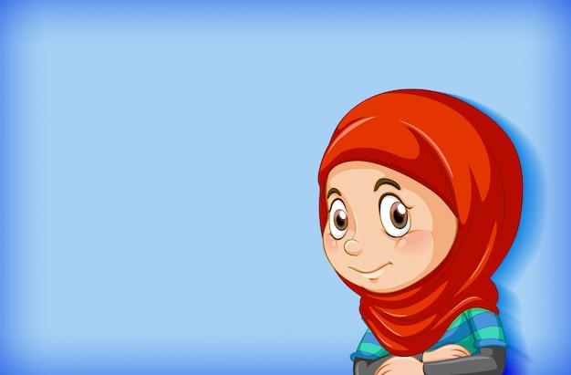 Милая мусульманская девушка на синем фоне