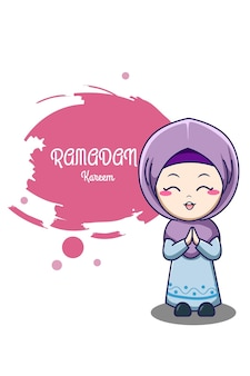Cute muslim girl at ramadan kareem cartoon illustration