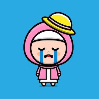 Cute muslim girl sad illustration