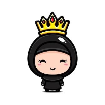 왕관을 쓰고 귀여운 무슬림 소녀