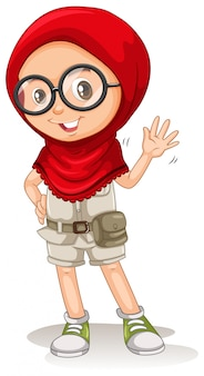A cute muslim girl on white background