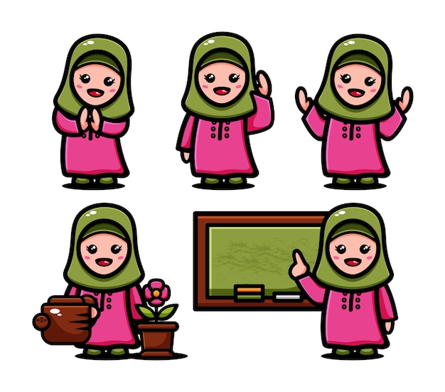 Cute muslim girls set with many poses