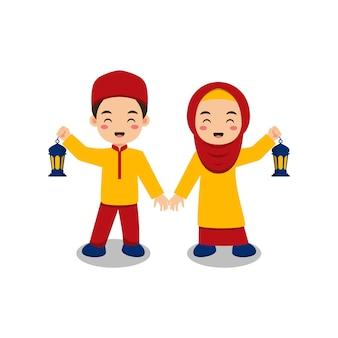 Cute muslim kids couple holding lantern cartoon illustration