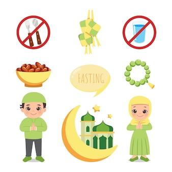 Cute muslim man and woman in hijab ramadan fasting decoration