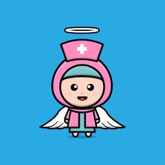 Cute muslim nurse character illustration