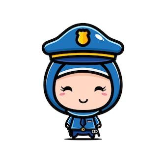 귀여운 이슬람 경찰 캐릭터 디자인 흰색 절연