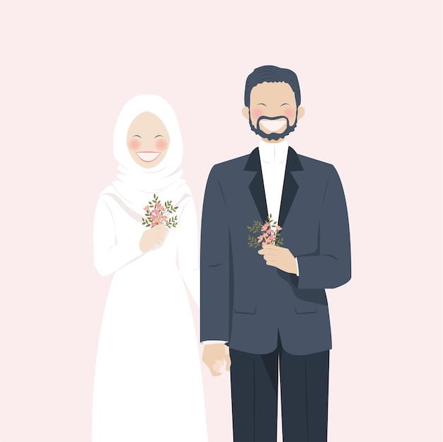 Cute muslim wedding couple beaming with smile and happiness wearing wedding attire