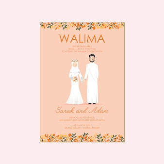 Cute muslim wedding couple character save the date